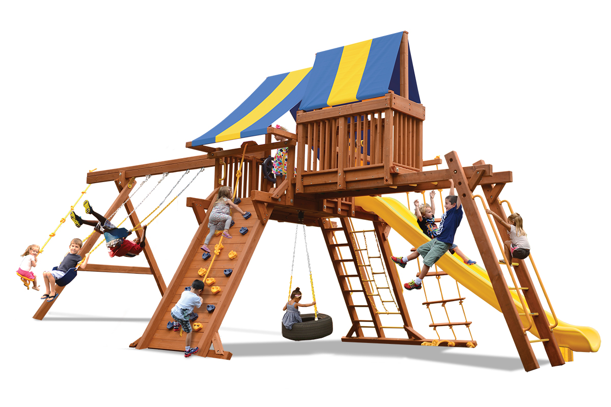 Extreme Playcenter Combo 4 swing set features large play deck, climbing wall, ladders, tire swing, belt swings, trapeze bar, monkey bars, and sky loft