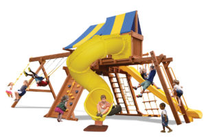 Extreme Playcenter Combo 5 swing set features large play deck, climbing wall, ladders, tire swing, belt swings, trapeze bar, monkey bars, sky loft, straight slide and corkscrew slide