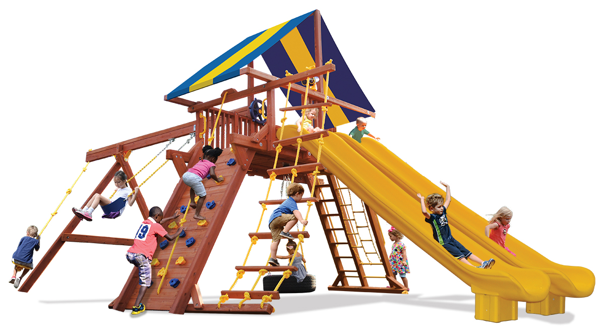 Extreme Playcenter swing set features large play deck, climbing wall, ladders, tire swing, belt swings, and two slides