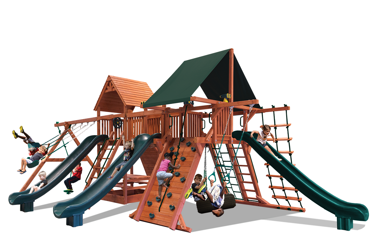 Supreme Dual Triple Shot swing set is ideal for large yard or large family and features two play decks, two climbing walls, ladders, 3 slides, tire swing, belt swings, trapeze bar