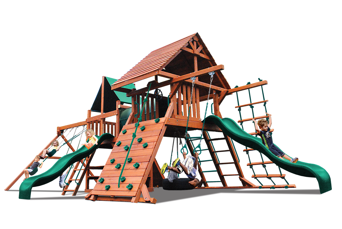 Original Double Zinger play set has two play decks, two climbing walls, ladders, 2 slides, tire swing, belt swings, trapeze bar