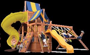 Original Fort High Roller play set has play deck, climbing wall, sky loft, cafe table, wave slide, corkscrew slide, belt swings, trapeze bar