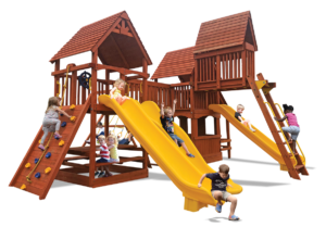 Turbo Deluxe Triple Shot play set includes two play decks, picnic table, playhouse, cafe table, monkey bars, sky loft, bridge, belt swings three slides