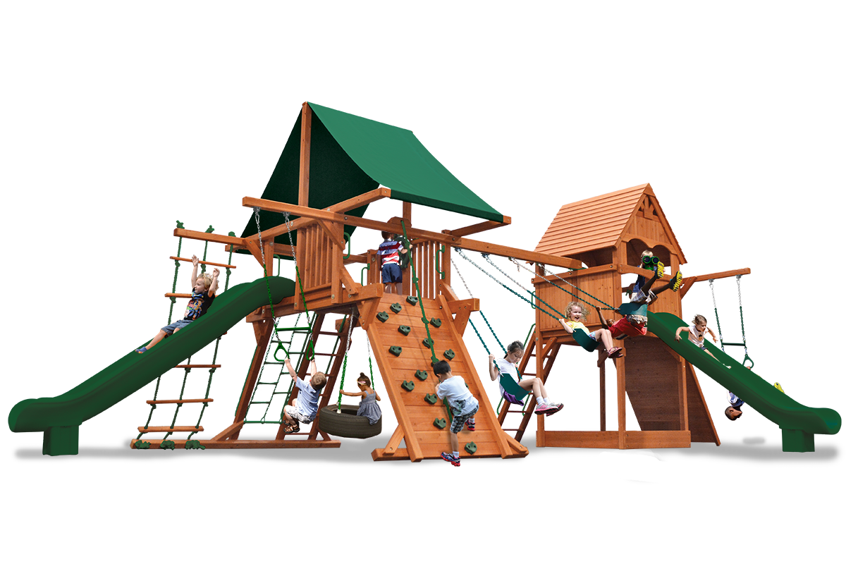 Turbo Deluxe Swing o Saurus play set has two play decks, 2 slides, 2 climbing walls, ladders, belt swings, tire swing, trapeze bar