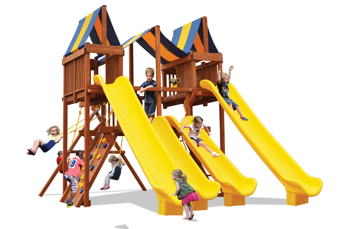 Turby Deluxe Playcenter Slide City play set has play deck two sky lofts, four slides, belt swings