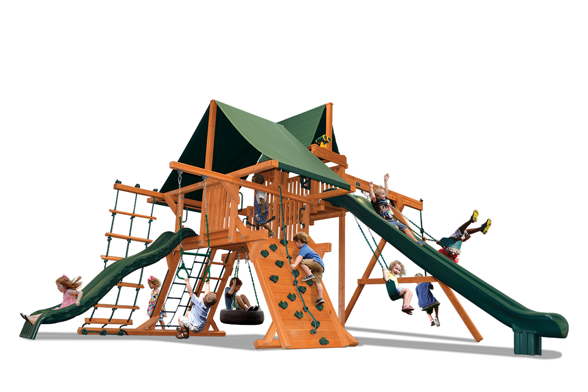 Deluxe Playcenter Amped Up includes play deck, climbing wall, ladders, two slides, sky loft, belt swings