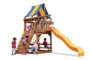 Original Fort Jr. play set with play deck, climbing wall, ladder, slide, and trapeze bar