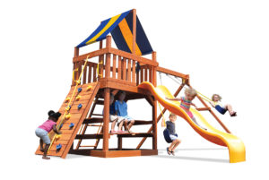Original Fort swing set with 2 position swing beam is perfect for a small yard