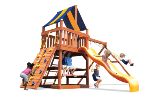 Original Fort with 2-position swing beam swing set includes play deck, climbing wall, slide and belt swings