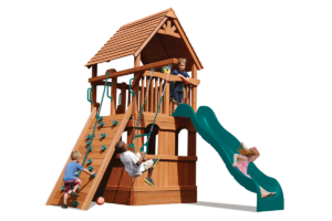 Deluxe Fort Jr features playhouse, play deck, climbing wall, slide and trapeze bar
