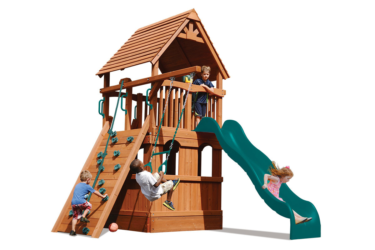 Deluxe Fort play set with lower level playhouse