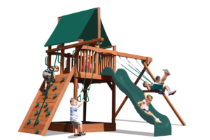 Deluxe Fort with 2 position swing beam play set features play deck, climbing wall, ladder, slide, belt swings and trapeze bar