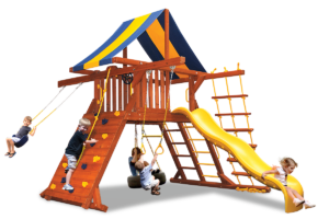 Original Playcenter with double swing arm swing set features play deck, climbing wall, ladders, slide, belt swing, trapeze bar