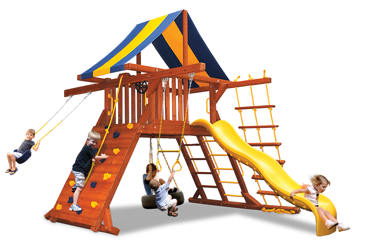 Original Playcenter swing set with belt swing and trapeze bar