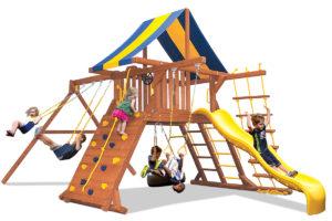 Original Playcenter swing set has 2 belt swings, a play deck, and a climbing wall