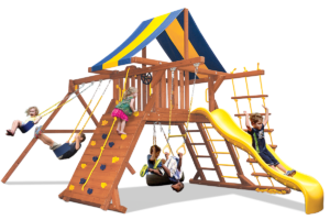 Original Playcenter 2 position swing beam swing set includes play deck, climbing wall, ladders, slide, 2 belts swings and a trapeze bar
