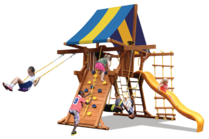 Deluxe Playcenter with double swing arm is perfect for a smaller yard and features play deck, climbing wall, ladders, slide, tire swing, belt swing and trapeze bar