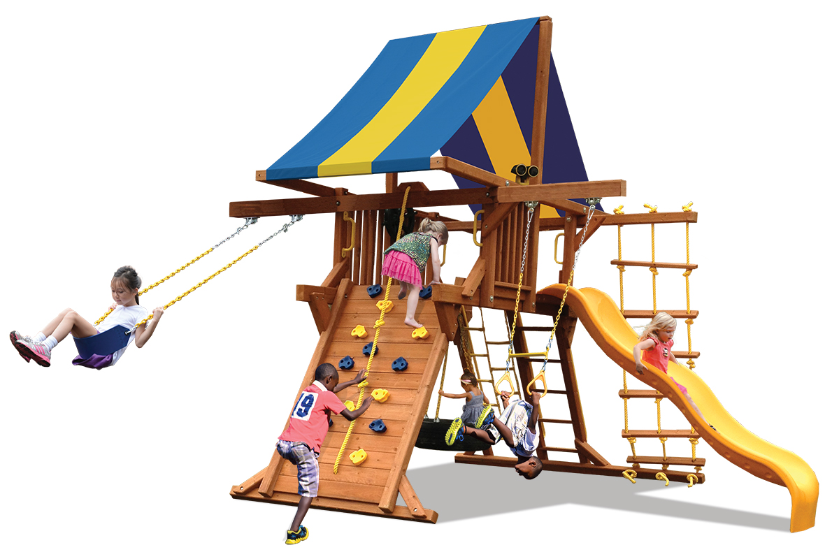 Deluxe Playcenter swing set has play deck, climbing wall, belt swing and trapeze bar