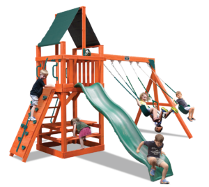 Classic Fort swing set with belt swings and a trapeze bar