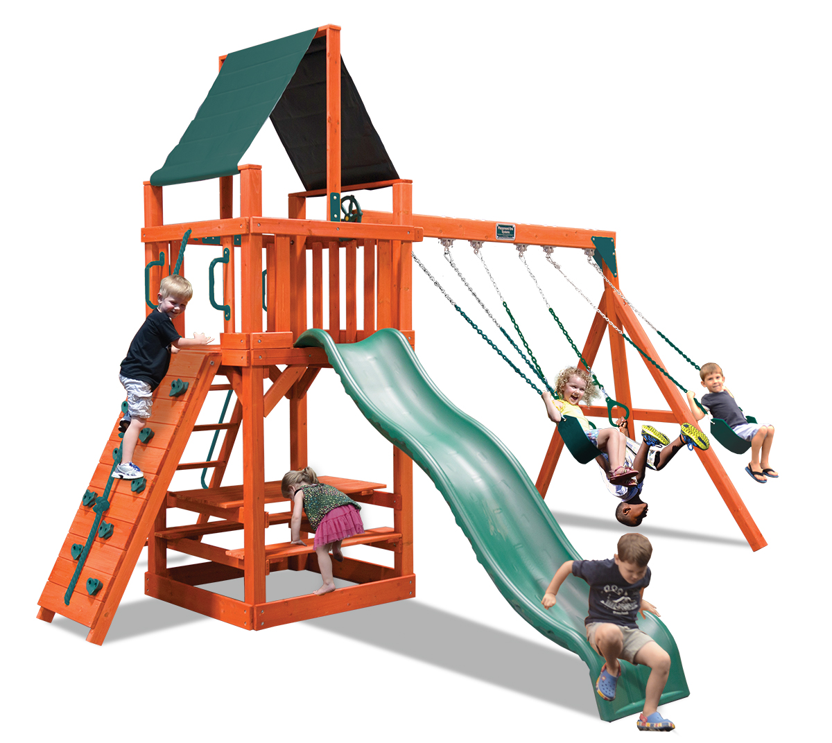 Classic Fort swing set with a play deck, belt swings and a trapeze bar