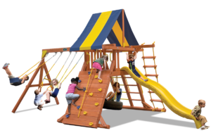 Classic Playcenter swing set with play deck, climbing wall, belt swings and trapeze bar