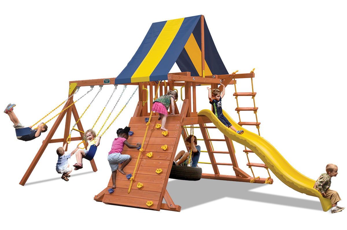 Classic Playcenter swing set with 2 belt swings and a trapeze bar, climbing wall