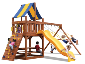 Original Fort play set with play deck, climbing wall, belt swings and a trapeze bar