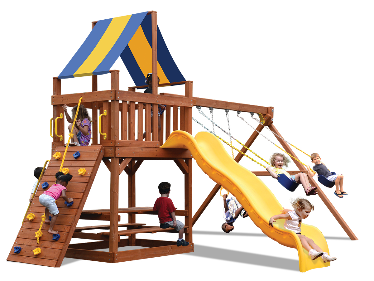 Original Fort swing set with a play deck, climbing wall, belt swings and a trapeze bar