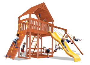Original Fort Combo 2 XL swing set has a 50% larger play deck than an Original Fort and a wood roof