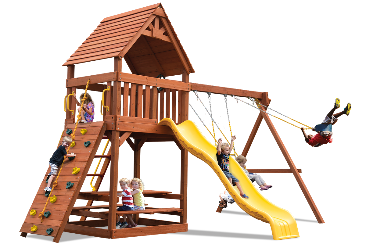 Original Fort swing set with a wood roof instead of a canvas roof