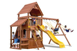 Original Fort Hangout with lower level play house and cafe table