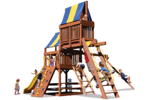 Original Fort Combo 4 play set includes monkey bars and a skyloft