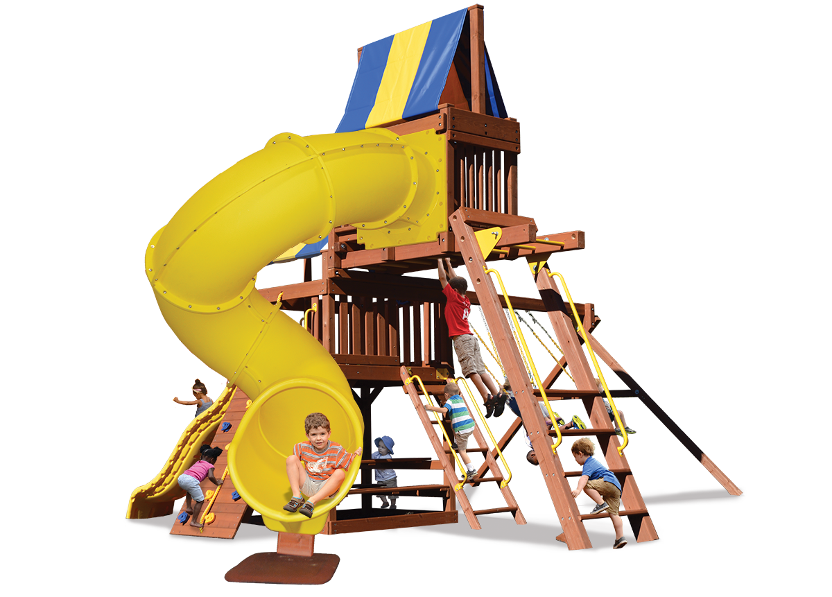 Original Fort Combo 5 play set includes monkey bars, sky loft, and extreme corkscrew slide