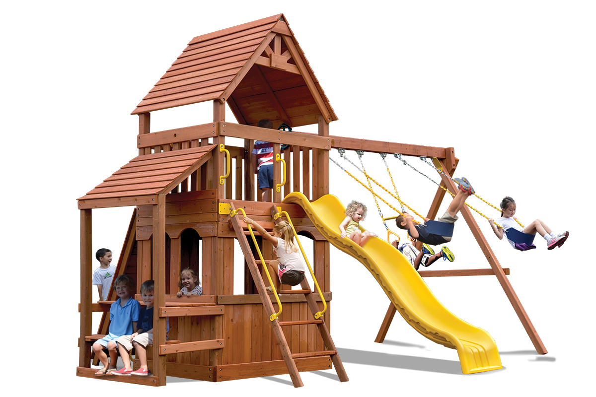 Original Fort Hangout play set with lower level play house and cafe table