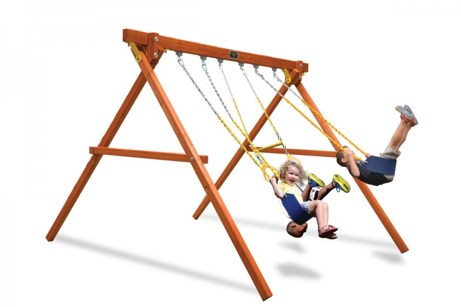 Classic Swing Gym wooden swing set with two belt swings and a trapeze bar