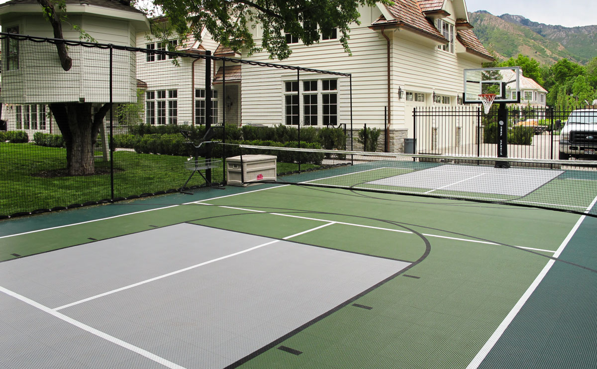 Multi-game court with pickleball featuring SnapSports Outdoor Revolution Surface