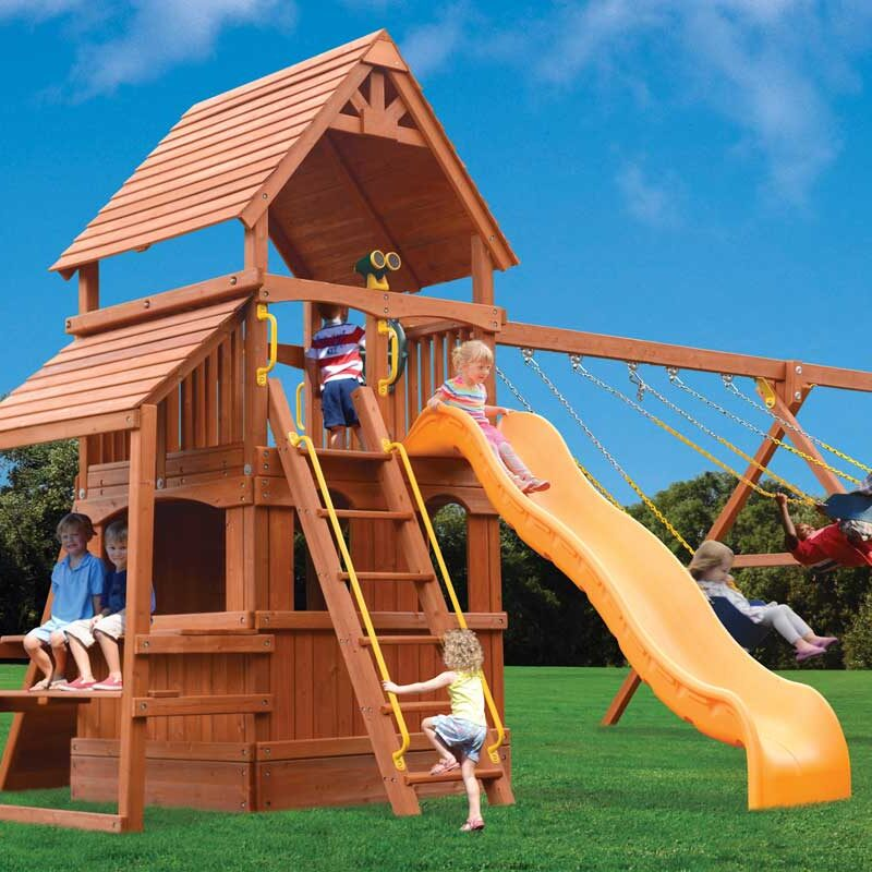 Playground One Deluxe Fort Hangout Swing Set with Cafe Table and Lower Level Playhouse